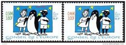 France - Timbre De Service N° 122 Et 123 ** Conseil De L´Europe 2001; Je Suis Noir, Je Suis Blanc, Je Suis Noir Et Blanc - Officials