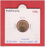 PORTUGAL  1  ESCUDO  NIQUEL  LATON  1.992  KM#631   SC/UNC    T-DL-7695 - Portugal