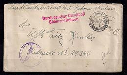 1941 , BOHEMIA Y MORAVIA , INTERESANTE SOBRE CIRCULADO POR EL SERVICIO POSTAL ALEMAN DESDE ULMÜTZ , FELDPOST - Bohemia Y Moravia