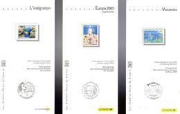 """FRANCE 2004 à 2006 : 3 Fascicules Publicitaires Avec Photo Du Timbre + Cachet 1er Jour """" EUROPA """" - UNESCO"""