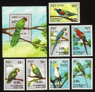 KAMPUCHEA 1989 BIRDS PARROTS MACAW AMAZON PARAKEET COCKATOO SET & M/SHEET MNH - Kampuchea