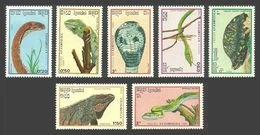 KAMPUCHEA 1988 REPTILES SNAKES IGUANA COBRA VIPER BOX TURTLE SET MNH - Kampuchea