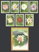 KAMPUCHEA 1989 FLOWERS WATER LILIES SET & M/SHEET MNH - Kampuchea