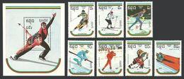 KAMPUCHEA 1989 SPORT OLYMPICS WINTER ALBERTVILLE SKIING HOCKEY SET & M/SHEET MNH - Kampuchea