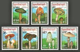 KAMPUCHEA 1989 FUNGI MUSHROOMS FLOWERS PLANTS SET MNH - Kampuchea