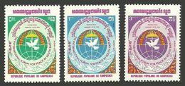 KAMPUCHEA 1984 PEACE IN S E ASIA FORUM BIRDS DOVE SET MNH - Kampuchea