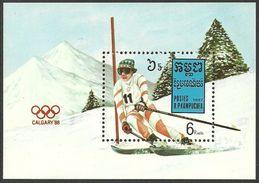 KAMPUCHEA 1987 SPORT OLYMPICS CALGARY 88 SKIING M/SHEET MNH - Kampuchea