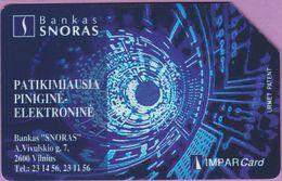 Télécarte Lituanie °° Urmet 28 - Bankas Snoras - Impar Card -25 - Lituanie