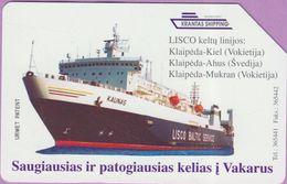 Télécarte Lituanie °° Urmet 22 - Lisco Baltic Service - Paquebot Kaunas-50 - Lituanie
