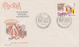 Enveloppe  FDC  1er  Jour   ANDORRE  ANDORRA   7éme  Centenaire  Signature   Des   Paréages    1978 - Andorre Espagnol