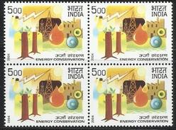 Block Of 4 Stamps Oil Energy Fuel Conservation Indian Petroleum Petrol Petro Chemicals Benzin Essence Pétrole Öl Indien - Timbres