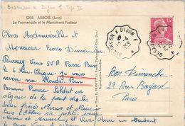 BESAN9ON Doubs à DIJON Côte D'Or Convoyeur Type IV Sur Muller Besançon à Dijon E 17.4.1956 Cpa ARBOIS Monument Pasteur G - Railway Post