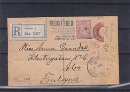 Grande Bretagne - Lettre Recom De 1916 - Entier Postal - Oblit Cardiff - Exp Vers Abo En Finlande - Avec Censure - Covers & Documents