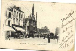ROUBAIX  Grand'Place Eglise St Martin Attelages Tram Hotel De France Precurseur Recto Verso - Roubaix