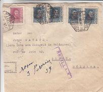 Espagne - Lettre De 1939 ° - Oblit Sevilla - Exp Vers Liège En Bemgique - Griffe Violette Sevilla 5 - 1931-50 Briefe U. Dokumente