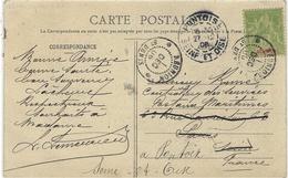 1906- C P A ( Village De Salazie )  Affr. Sage 5 C Réunion Oblit. Cad  REUNION / St DENIS - Réunion (1852-1975)