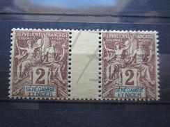 VEND BEAUX TIMBRES DE SENEGAMBIE ET NIGER N° 2 EN PAIRE AVEC INTERPANNEAU , XX !!! - Unused Stamps