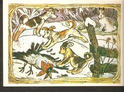 K. Russia USSR Soviet Postcard Russian Tales Hare Brag Bragging Fairy Tale Animal Crow Dogs Illustration By Alekseev - Fairy Tales, Popular Stories & Legends