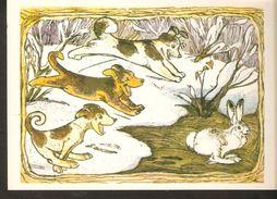 K. Russia USSR Soviet Postcard Russian Tales Hare Brag Bragging Fairy Tale Animals Hare Dogs Illustration By Alekseev - Fairy Tales, Popular Stories & Legends