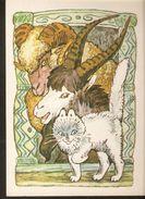 K. Russia USSR Soviet Postcard Russian Cat - Gray Forehead Goat & Ram Tales Fairy Tale Animals Illustration By Alekseev - Fairy Tales, Popular Stories & Legends