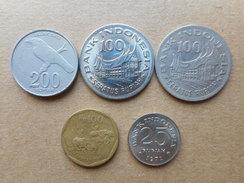 Indonesia 25,100,200 Rupiah 1971-2003 (Lot Of 5 Coins) - Indonésie
