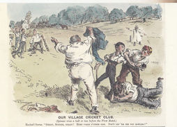Our Village Cricket Club Punch Magazine Cartoon Rare Comic Humour Postcard - Cartes Postales