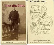CDV Adrien DAUMAS En 1883-familles DAUMAS-MATHIAS-DELPECH-BRETONNECHE-photographie Bruder à Neuchatel-SUISSE - Anciennes (Av. 1900)