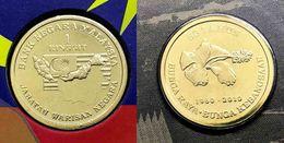 Malaysia 2010 1 Ringgit 50th National Flower Bunga Raya Commemorative Nordic Gold  Coin BU - Malaysia