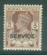 Burma: 1946   Official - British Civil Administration - KGVI 'Service' OVPT   SG O28    3p   MH - Burma (...-1947)