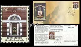 Grand Lodge Indian FDC & Folder Indien Inde Freemasons Masonry Masonic Freemasonry Compass Symbol - Freemasonry