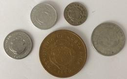 Costa Rica - 5 Centimos 1951 - 10 Centimos  1967 - 25 Centimos 1989 - 1 Colon 1983 - 100 Colones 1995 - Costa Rica