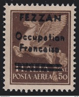 Occupazione Francese Del Fezzan - Posta Aerea (11) Soprastampato 50 C. Bruno -1943 - Fezzan & Ghadames