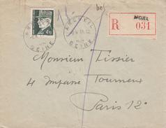 Env Reco Affr Y&T 521B Obl ARCUEIL Du 9.11.1942 Adressée à Paris - 1921-1960: Moderne