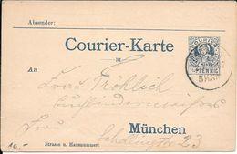 COURIER PRIVAT STADTPOST ENTIER CIRCULEE 1897 MUNCHEN GERMANY - Sello Particular
