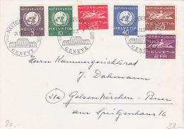 Affranchissement Nations-Unies Genève,sur  Lettre Oblitérée Le 24.10.55 - Suisse