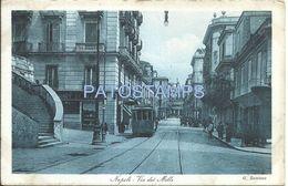 77495 ITALY NAPOLI CAMPANIA STREET OF THE MONEY AND TRAMWAY POSTAL POSTCARD - Italia