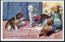 4 Katzen, Kätzchen Warten Auf Die Maus,  Cat, Durch Diese Hohle Gasse Muss Sie Kommen, Pinx K. Feiertag. - Illustrators & Photographers