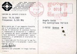 24847 Switzerland, Red Meter/freistempel/ema/ 1987 Bern Weltp  Special Stationery 1987,  UPU,  Union Postale Universale, - UPU (Universal Postal Union)