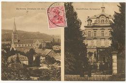 Dorfkirche Zillisheim - Bischofliches Gymnasium Cachet Train Bahnpost Mulhausen Altmunsterol 1911 - France