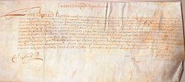 Entre BERNARD UZERCHE Marchand D'horloge  & Jeanne De NAVIERS Sa Mère.parchemin:28 X 12,3 Cm.1 Juillet 1658. - Documents Historiques