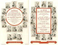 """LITTERATURE  - JOURNALISME - ENVOI PROGRAMME ANCIEN DE """"LA REVUE DES DEUX MONDES"""" - NOMBREUX PORTRAITS DES ECRIVAINS ET - Programs"""