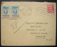 1949 Vignettes BCG Tuberculose Sur Lettre De Chalon Sur Saone Pour Versailles - Erinnophilie