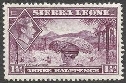 Sierra Leone. 1938-44 KGVI. 1½d Mauve MH. SG 190a - Sierra Leone (...-1960)