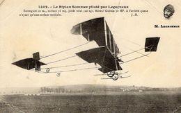 Le Biplan Sommer Piloté Pas Legagneux  -  CPA - Flieger