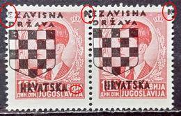 PETER II-PAIR-ERROR-OVERPRINT NDH-CROATIA-1941 - Croatia