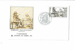 Enveloppe REMBRANDT Homme Dictant Une Lettre Journée Du Timbre 1er Jour Lagny Sur Marne 1983 - Stamp's Day