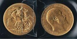 GB  1910 - Edouard VII - STERLINA - SPL - Oro / Or / Gold  917 / 000 - Confezione In Bustina Semplice - 1902-1971 : Monete Post-Vittoriane