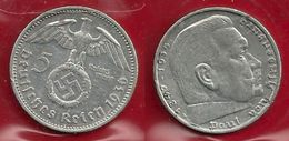GERMANIA 1936 A - 5R Reichs Mark  BB / SPL - Argento / Argent / Silver - Confezione In Bustina - (3 Foto) - [ 4] 1933-1945 : Troisième Reich
