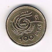 )  SPANJE 100 PESETAS 1999 JUAN CARLOS - [ 5] 1949-… : Royaume