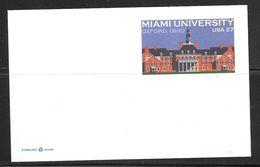 2008 Miami University, 27 Cents PC, Mint - Postal Stationery
